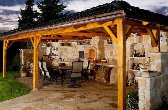 дизайн дачного участка летняя кухня