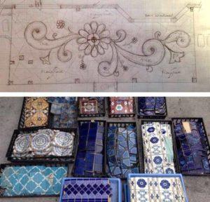 дизайн сада терраса с мозаикой