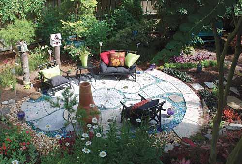 дизайн сада своими руками мозаичное патио фото