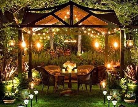 дизайн освещения сада своими руками кррасивое патио вечером