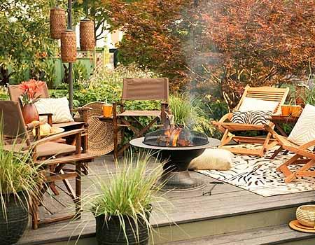 патио с мангалом в дизайне сада своими руками