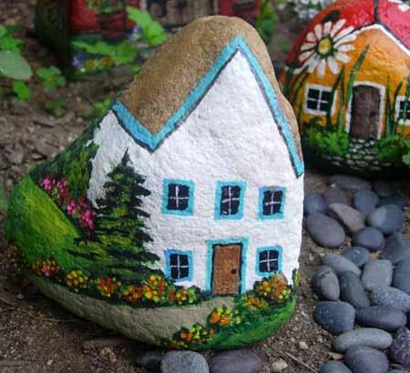 Поделки для сада 10 домиков из камней