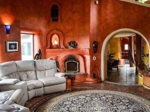 роскошный интерьер дачного дома из глины
