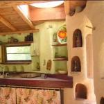 интерьер дачного дома из глины кухня с нишами