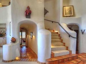 интерьер дачного дома из глины белая гостиная