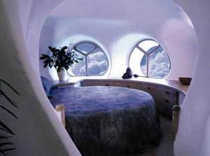 интерьер дачного дома из глины спальня
