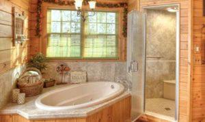 интерьер деревянного дома ванная комната