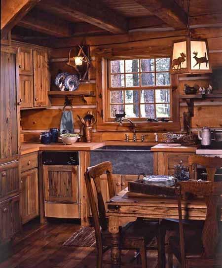 интерьер деревянного дома фото кухни