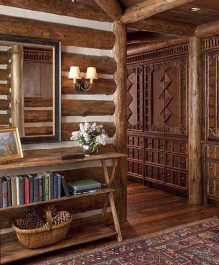красивый интерьер деревянного дома фото