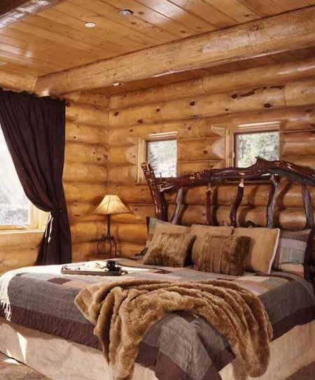 интерьер деревянного дома фото спальни