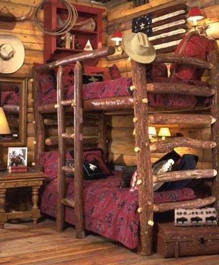 интерьер деревянного дома фото кровати