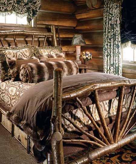 интерьер спальни деревянного дома фото