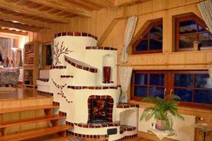 интерьер деревянного дома с печкой
