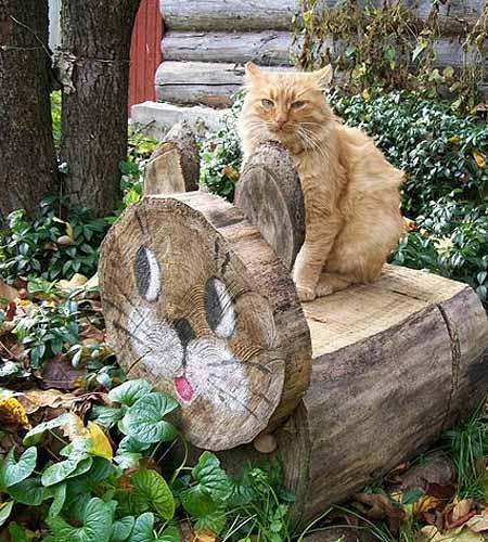 Садовые фигурки из бревен