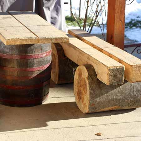 садовая мебель из пней и дерева
