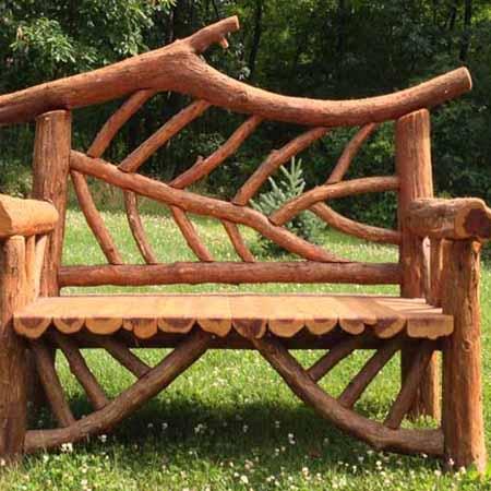 садовая мебель из дерева и веток