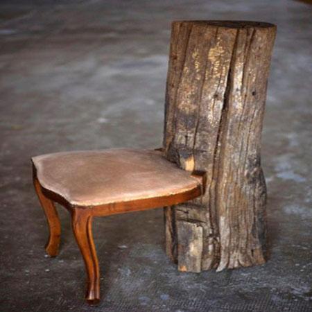 садовая мебель из дерева - кресло из старого стула
