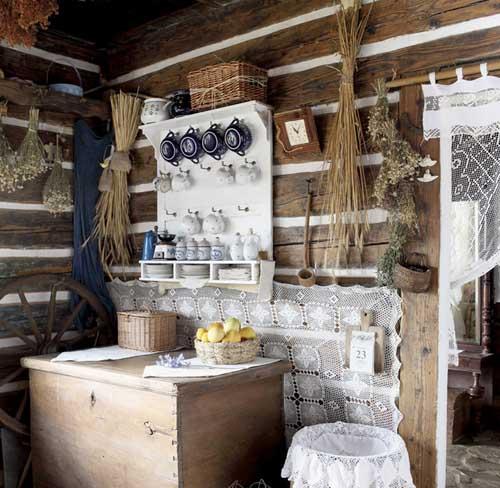 кухня тв деревенском доме