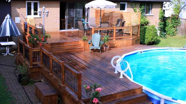 терраса с бассейном фото