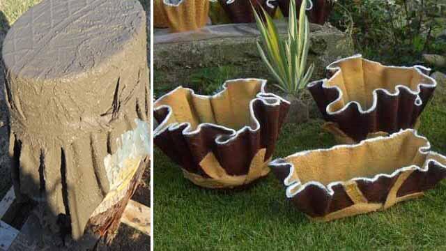 Садовые вазы своими руками из подручных материалов 30