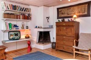интерьер загородного дома в Швеции камин