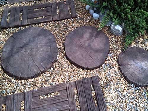 тротуарная плитка для дачи с имитацией спила дерева