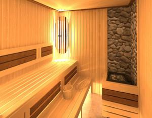 полки внутри бани