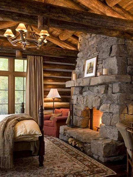 Камин для дачи в спальне