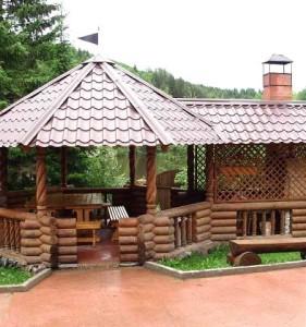 деревянная беседка для дачи