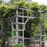 деревянная беседка в саду