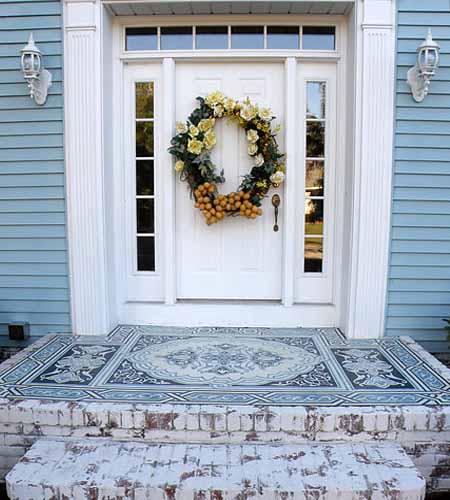 бетонный пол с росписью в частном доме