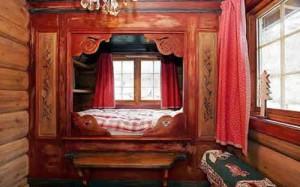 деревянный дом нтерьер спальня в нише