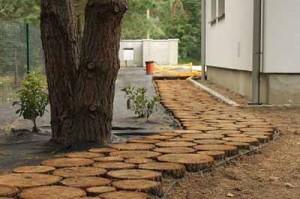 деревянная дорожка из спилов дерева в саду