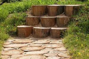 красивая дорожка из спилов дерева со ступеньками