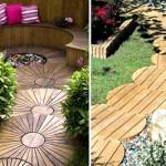 необычные садовые дорожки из дерева