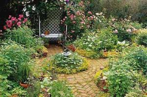 красивые садовые дорожки из кирпича среди клумб
