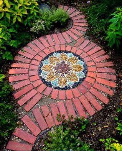красивые садовые дорожки из кирпича