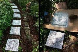 как украсить плитку для садовой дорожки