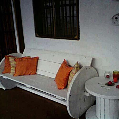 скамейка для дачи из паллет