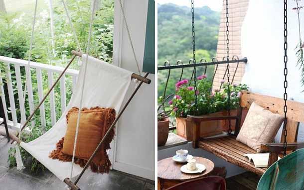 элементы дизайна красивого балкона качели