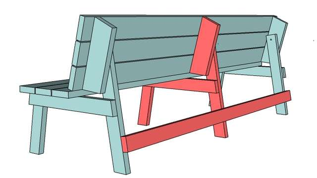чертеж деревянной скамейки со спинкой