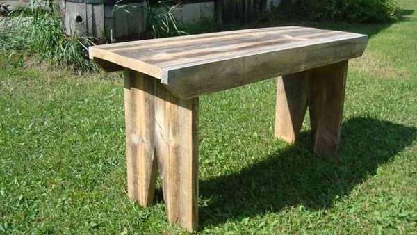 простая скамейка для дачи фото
