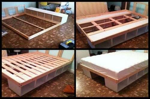 как сделать кровать из полок