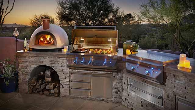летняя кухня печь для пиццы