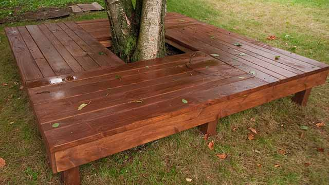 скамейки из дерева в саду фото