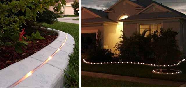 садовый бордюр с освещением