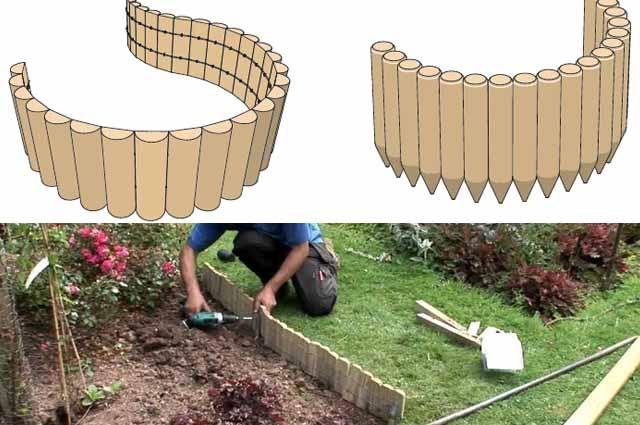 как установить деревянный садовый бордюр