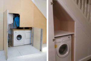 стиральная машинка под лестницей санузел